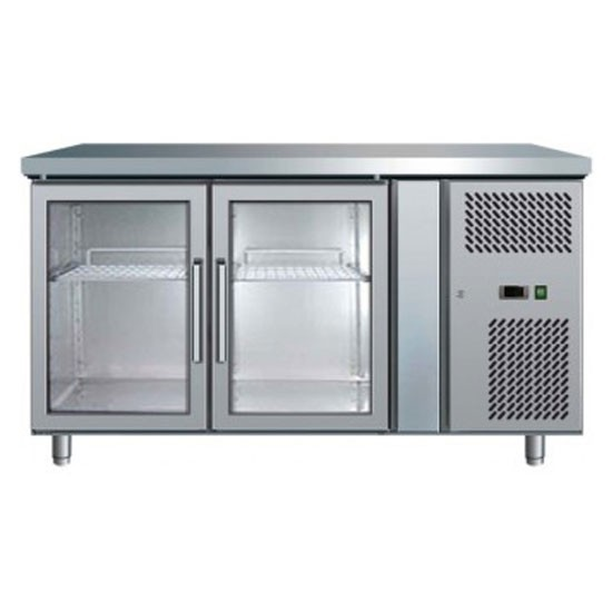 bromic 2 glass door gastronorm underbar chiller 1360mm