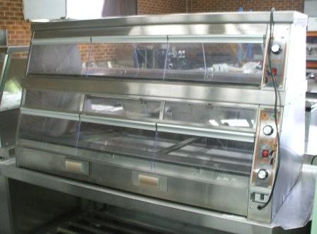 Dual Side Hot Food Warmer Display Show Case Self Serve