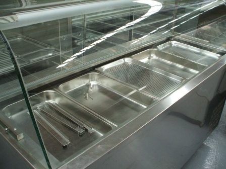 Sold Ice Blue 1800mm Curved Glass Sandwich Bar Salad