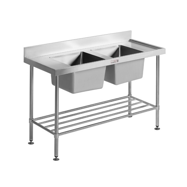 SIMPLY STAINLESS Stainless Steel Double Sink Bench 700