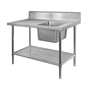 SIMPLY STAINLESS Stainless Steel Single Sink Bench With Splashback 600  Series