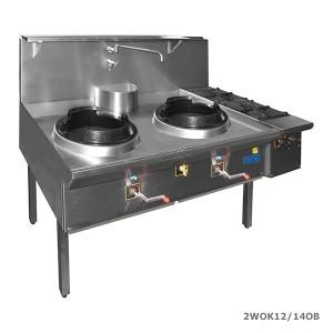 F e d triple waterless gas wok with 2 side burners on for Viking wok burner