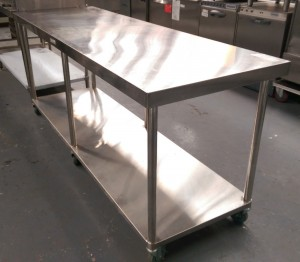 Used Simply Stainless 2100mm Mobile Work Bench Commercial Kitchen Equipment Australia